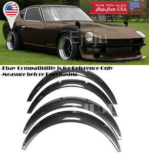 """1.75"""" F 2.75"""" R ABS Carbon Effect Flexible 4 Pieces Wide Fender Flares For Chevy"""