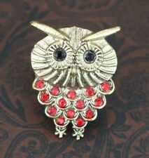 Adjustable Owl Ring Red Rhinestone Crystals Ladies Owl Jewelry Gifts for Friend