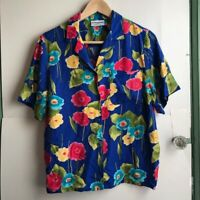 ALFRED DUNNER Royal Blue Pink White Floral Short Sleeve Button Down 10 Medium