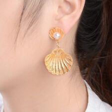 1Pair Simulated Pearl Big Metal Shell Drop Earrings Women Boho Beach Jewelry