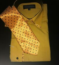 Mens Formal Button Down 2 PIECE Dress Shirt. Cotton/Poly. Mustard.15 1/2 32/33