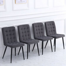Set of 4 Grey Velvet Dining Chairs Stitched Upholstered Padded Seat Metal Legs