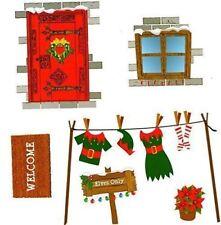 Elf Pared Casa Hoja Pegatina Decoración de Navidad de diversión para niños Recubrimiento Estante