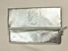Victoria's Secret Angel Silver Metallic Fold Over Zipper Clutch Bag Small