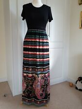 Ladies Black Mix M&S JERSEY MAXI DRESS SIZE 10