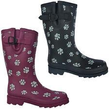 TOSH Wellingtons Short Calf Dog Paw Half Womens Rubber Wellies Boots UK 3-9