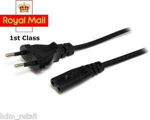 EU European 2 Pin Plug Fig Figure 8 Mains Cable Lead Black EU C7 F8 CORD