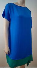 JOSEPH Royal Blue & Green Silk Sleeveless Asymmetric Hemline Dress 40 UK12 BNWT