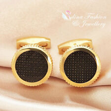 18K Yellow Gold Plated Round Shaped lattice Charming Black Men`s Cufflinks