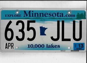 "MINNESOTA passenger 2013 license plate ""635 JLU""."