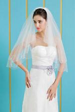 HBH Brautschleier aus Tüll,mit Perlen/Blüte bestickt,Länge:60cm/80cm,Farbe:Ivory