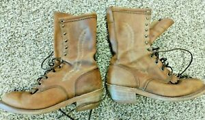 Men's Brown Leather Roper Kiltie Boots Made USA Western Oil Resistant Sole 10.5