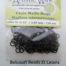 3.97mm Black Copper Wire 18ga 150 pc.  Chain Maille Jump Rings Artistic Wire