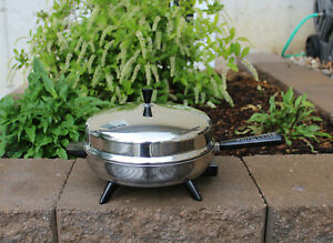 """Farberware 12"""" Electric Skillet 310-B Stainless Steel Dome Lid Frying Pan Tested"""