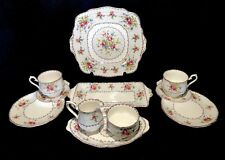 Royal Albert Petit Point Tea Set For 2 Cake Sandwich Plate Creamer Sugar