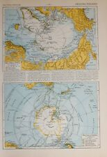 1913 MAP POLAR REGIONS ARCTIC ANTARTICA COOK VOYAGES WILKES ROSS EXPEDITIONS