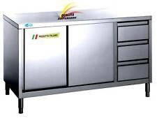 Tavolo  Acciaio Inox cm200x70x85  Armadiato Con Cassettiera Banco Professionale