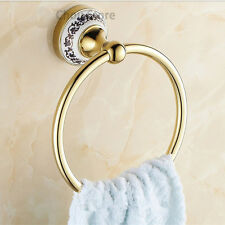 Gold Brass Ceramic Base Clothes Hanger Wall Mounted Round Towel Ring Rack