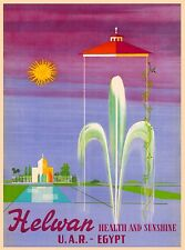 Helwan U.A.R. - Egypt Vintage Egyptian Travel Advertisement Art Poster