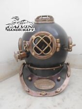 "VINTAGE DIVING DIVERS HELMET 18"" SOLID BRASS & IRON BLACK ANTIQUE FINISH REPLICA"