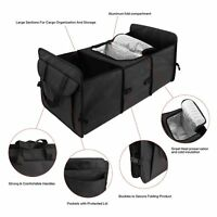 Black Car Trunk Organizer Cooler Storage for Auto Front & Back Seat Collapsible