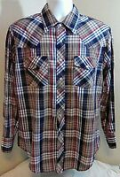 Outlaw Western Wear Mens Pearl Snap Cowboy Shirt Large Brown Red Blue Plaid FS!