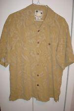 BANANA CABANA Hawaiian Shirt, Tan Floral, 100% SILK, Men's L