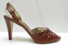 Gianni Bini Brown Leather Cutout Studs Slingback Sandal Pumps 8M 8 NEW MSRP $89.
