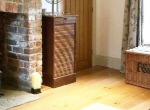 Antique Oak Tambour Front Filing Cabinet