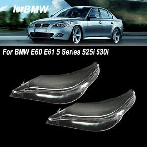 For BMW E60 E61 5 Series 525i 530i Pair Right & Left Headlight Clear Lens Cover