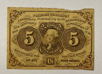 5 FIVE CENTS FIRST ISSUE FRACTIONAL CURRENCY NOTE EXTREMELY RARE!!