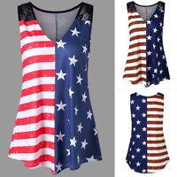 Fashion Cool Women American Flag Print Lace Insert V-Neck Tank Tops Shirt Blouse