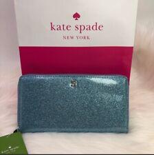 Kate Spade Mavis Street Neda Glitter Lakes Edge Blue Zip Around Wallet WLRU2388