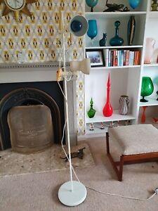 VINTAGE MID CENTURY STANDARD DOUBLE SPOTLIGHT FLOOR LAMP WORKING TWIN BULB WHITE