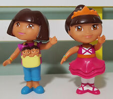 2 DORA THE EXPLORER TOY FIGURINES! ABOUT 12CM TALL BABYSITTING DORA AND DANCER!