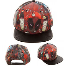 Marvel Comics Deadpool Printed PU Snapback Hat Cartoon Character Cap