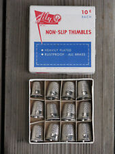 12 LILY ~ NEW Vintage 1950s Brass THIMBLES in Original Box 7-12 Western Germany