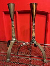 Vintage Mid Century Pair Bronze Brass Brutalist Tiki Candle Holder Set