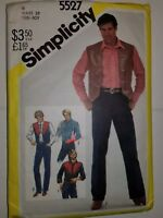 "Shirt Jeans Vest Western BOYS 18 29"" Simplicity Sewing Pattern 5527 CUT Vtg 80's"