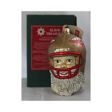 Vintage Slavic Treasures Florida Seminoles Santa in Helmet Blown Glass Ornament