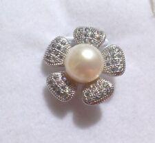 Pendentif fleur en perle de culture blanc Akoya et argent 925/1000 neuf