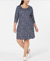 Karen Scott Womens Dress Swing Scoop Neck 3/4 Sleeve Floral Intrepid Blue 1X New
