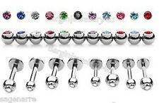 Monroe-Tragus-Ear with Assorted Press Fit Gem 16g-6mm Sm Surgical Steel Bar Stud