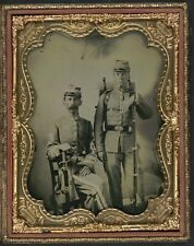 Photo Civil War Confederate Soldiers In Uniform Sword Bayoneted Musket Knapsack