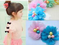 1PC Girls Kid children school Chiffon Flower ponytail holder hair band scrunchie