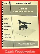 Craftsman 11329330 9 Radial Arm Saw Operator Amp Parts Manual 0179