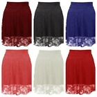 NEW WOMENS LADIES GLAMOROUS FLORAL LACE SKATER LINED MINI FLARED SKIRT SIZE 6-12