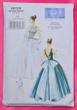 VOGUE Vintage Model Pattern Fitted Evening Gown Full Skirt V8729 6-8-10-12 FF