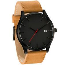 Fashion Men's Women Analog Sport Wrist Stainless Steel Case Leather Quartz Watch