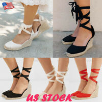Women Lace Up Wedge Sandals Espadrille Platform Med Heel Summer Casual Shoes USA